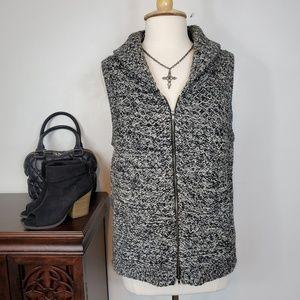 Eileen Fisher Zip Merino Yak Wool Blend Vest, L